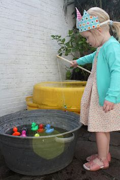 cute idea for a birthday game: ducks and a fishing rod
