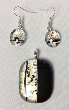 Simple elegance.  Unique, fused glass pendant and earrings, designed and handcrafted by SpallekGlassArt.