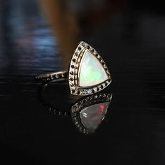 Delilah Ring with opals and black diamonds. Moody.