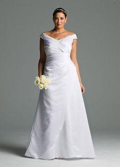 David's Bridal Wedding Dress: Satin Off-the-Shoulder A-Line with Side-Drape Style 9BR1035 David's Bridal, http://www.amazon.com/dp/B0050CCG4Q/ref=cm_sw_r_pi_dp_pSxcrb19Q1B31