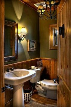 Rustic Country Bathroom Decor √ 28 Rustic Bathroom Ideas Making Impact to atmosphere Small Rustic Bathrooms, Rustic Bathroom Lighting, Rustic Lighting, Country Bathrooms, Small Cabin Bathroom, Cabin Bathroom Decor, Log Cabin Bathrooms, Wall Decor, Rustic Bathroom Fixtures