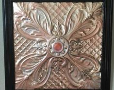Ceiling Tile, Vintage Design, Rose gold, silver and copper with custom wood framed. x finished framed art piece. Custom Wood, Custom Paint, Ceiling Tiles Painted, Wreath Boxes, Diy Crafts Vintage, Custom Christmas Ornaments, Affordable Jewelry, Custom Framing, Vintage Designs