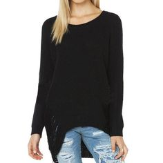 DOMODA Autumn&Winter Women Sweater Fashion Casual Solid Loose Hollow Top O-neck Lone Sleeve Party Distressed Sweater