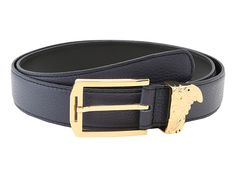 Versace Collection Printed Elk Gold Medusa Buckle Belt Blue - Zappos.com Free Shipping BOTH Ways