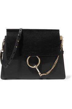 Black leather and suede (Calf) Snap-fastening front flap Comes with dust bag 6cf6c320b7
