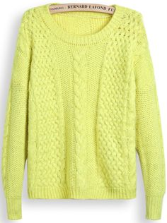 Yellow Long Sleeve Chunky Cable Knit Sweater US$26.89