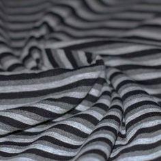 Baumwolljersey Streifen 5mm Grau Meliert Schwarz