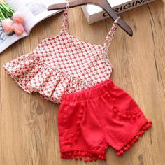 Buy Trendy Red Top And Short Set online @ Girls Frock Design, Baby Dress Design, Baby Girl Dress Patterns, Kids Outfits Girls, Little Girl Dresses, Girl Outfits, Kids Girls, Baby Girl Fashion, Kids Fashion