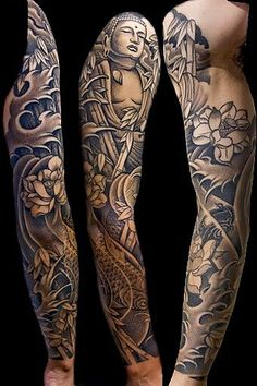 Buddha, koi, lotus sleeve by Aaron Bell at Slave to the Needle in Seattle WA: