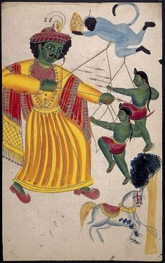 India, Rama fighting against his twin sons Lava and Kusa with the help of Hanuman, about 1860