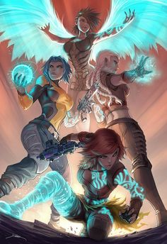 ... bold art channels anime and western influences... borderlands sirens