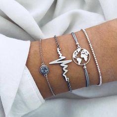 DIEZI Bohemian Korean Cute Map Ocean Beaded Bracelet Sets Women New  Handmade Silver Chain Bracelets Jewelry Christmas Gift f9846ef4a1ef