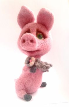 Willy Miniature Needle Felted Pig 4 9 inch by Marina Chichina Cat Kitten Pink | eBay