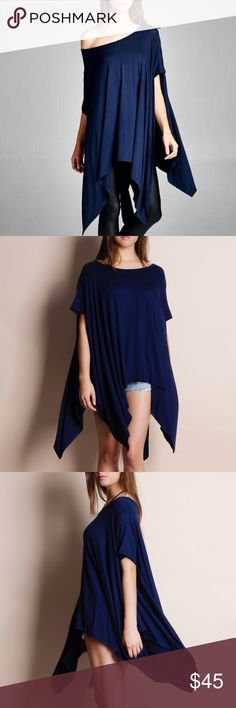 """""""Chase the Wind"""" Asymmetrical Tunic Top Oversized asymmetrical tunic top. Pics 2-4 are ACTUAL PICS of the item - all photography done personally by me. Brand new. One size fits most (S-XXL). No trades do not bother asking. Bare Anthology Tops Tunics"""