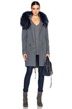 Image 1 of Mr & Mrs Italy Canvas Parka Jacket with Raccoon Fur in Grey & Lapis Blue