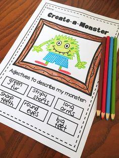 Adjective printable worksheet pack. No prep bundle for kindergarten, first grade and second grade. 34 printables.
