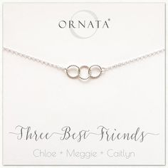 """Three Best Friends"" Sterling Silver Necklace 