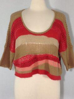Free People S multi-color striped slub short sleeve scoop neck crop sweater  #FreePeople #ScoopNeck