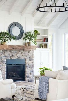 Modern Farmhouse Fireplace Design Ideas (20)