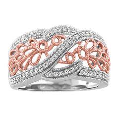 10KT Rose gold 0.25 ctw diamond ring.