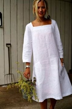 (60) Одноклассники  What a fun linen dress! This is my style!