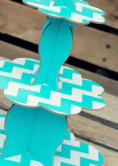 Turquoise Chevron cupcake stand, cake stand, fancy dessert stand.