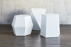 The Facet 8 End Table by Gus Modern was inspired by the shapes of naturally occurring crystals. In your own home, this eight-sided table can function as an accent table or as secondary seating. White End Tables, End Table Sets, Side Tables, George Nelson, Drum Table, Round Coffee Table, Everyday Objects, Geometric Designs, Geometric Shapes