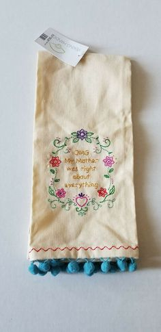 Details about NEW PEKING HANDICRAFT EMBROIDERED TEA DISH KITCHEN TOWEL OMG  My Mother Pom Pom 223179b86daa