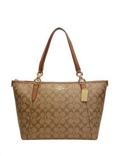 Coach Signature Print Coated Canvas Ava Zip Tote
