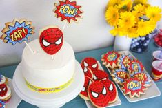 Baking for a Superhero Birthday Party - Hither & Thither Kid Desserts, Birthday Desserts, Birthday Cake, Superhero Birthday Party, Appetizers For Party, Baked Goods, Party Time, Special Occasion, Entertainment Ideas