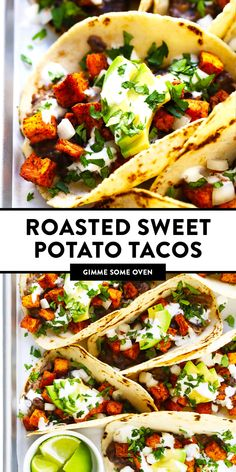 These zesty roasted sweet potato tacos are made with refried black beans, fresh avocado, lime crema and your choice of toppings. Vegetarian and gluten-free! Sweet Potato Tacos, Sweet Potato Meals, Vegetarian Sweet Potato Recipes, Sweet Potato Dinner, Sweet Potato Quesadilla, Mexican Food Recipes, Healthy Recipes, Mexican Dinners, Mexican Desserts