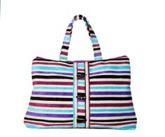 Purple/Blue striped Medium Weekender Bag. 23 x 16.5 Canvas interior with 2 inside pockets. 9 shoulder drop. Zipper closure. LIMITED Qtys!