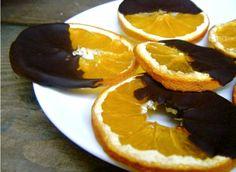 Recipe for dark chocolate dipped orange slices. Great snack!