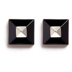 Givenchy Plexiglas pyramid stud earrings ($235) ❤ liked on Polyvore featuring jewelry, earrings, accessories, black, pyramid jewelry, pyramid stud earrings, givenchy earrings, acrylic jewelry and acrylic earrings