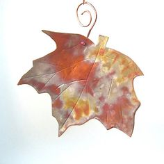 Small Maple Leaf Rustic Copper Wall Hanging Eco Friendly Metalwork #RoughMagicCreations #Maine #maineteam