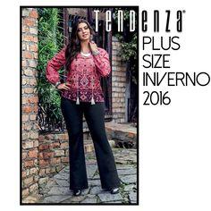 """Que bela combinação desta blusa Plus Size """"ETNIA"""" e com a calça flare Plus Size 'FOREVER"""". Inverno 2016 TDZ!  Sinta-se bem, use Tendenza."""