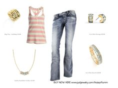 Howdy Thursday! Get ready for spring with this super cute and simple outfit and dress it up a little with this simple jewelry. #fun #jeans #gold  BUY HERE www.justjewelry.com/linziepflumm