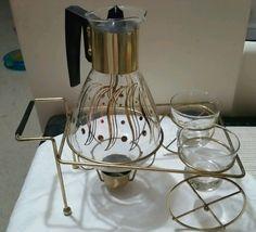 Vntg Pyrex Tabletop Caddy w/ warmer. Glass Coffee Carafe & Cream & Sugar holders