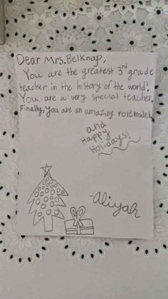 The Highest Accolade. A note from my student made this,teacher's website post.  December  2014