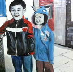 a quick painting of my kids based on my 8th instagram photo @lytesyde