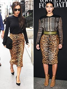 Fashion Faceoff | VICTORIA VS. KIM  | First it starts out with Posh and Kim wearing the same clothes (like this leopard-print Balmain pencil skirt). Next thing you know they'll both be arranging front-row Fashion Week play dates for Harper and North. (Hey, it could happen!)