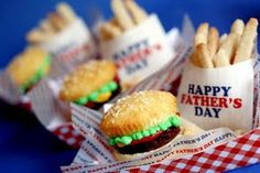 """Fast food (fries & a hamburger) for dessert - cookie fries and yellow cake cupcakes, brownies and colored frostings for the """"burger"""" Fast Dessert Recipes, Cupcake Recipes, Cupcake Ideas, Yummy Treats, Delicious Desserts, Sweet Treats, Fun Cupcakes, Cupcake Cookies, Cupcake Brownies"""