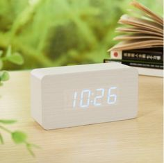 Smileto® Super Mini Rectangle Wood Style Grain Thermometer Touch Sound Activated Desk LED Digital Alarm Clock (White case Blue light), http://www.amazon.com/dp/B015641DGE/ref=cm_sw_r_pi_awdm_x4lvwb0K443YX