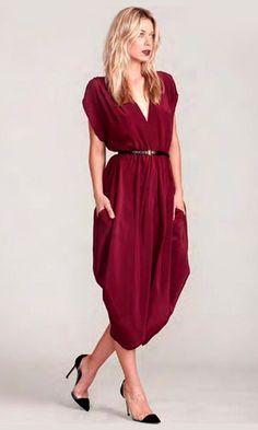 gorgeous draped crimson dress
