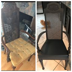 I painted chair with Bear paint in a matte finish dark brown. I redid the seat on this dining room chair. The seat is vinyl black with ostridge pattern that I ordered from eBay. I added new two inch medium density foam that the fabric store cut for me. And used my air stapler to put on the fabric. It was my first time using this air gun! It's now my favourite tool.