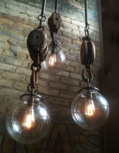 LET'S STAY: Vintage Industrial Inspired Lighting another idea for the pulleys I just bought at the Country Living Fair! Vintage Industrial Lighting, Rustic Lighting, Industrial House, Industrial Interiors, Lighting Design, Pendant Lighting, Pendant Lamps, Lighting Ideas, Industrial Farmhouse