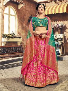 Shop or buy online latest designer lehenga choli. Grab this art silk hot pink lehenga choli. Cash on delivery! Banarasi Lehenga, Indian Lehenga, Patiala Salwar, Anarkali, Sabyasachi, Lehenga White, Pink Lehenga, Bridal Lehenga, Indian Bridal Party