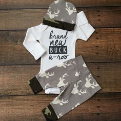 Newborn Baby Brand New Buckaroo coming home outfit Gray and Camo Deer theme going home set baby shower gift coming home from