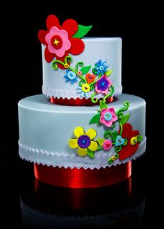"""LOVE the design of this """"button cake"""" by Kalli Cakes!! So cheerful & creative!"""
