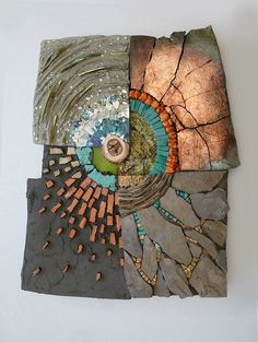 Kathy Thaden Mosaic. There is  a lot of different texture here. Tile on top of surfaces, tiles in crevices.